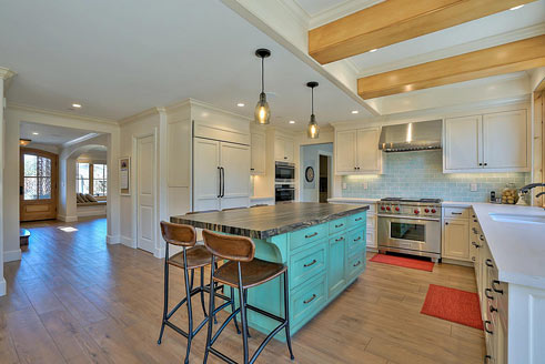 Bright kitchen with blue accents